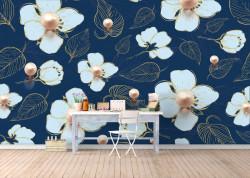 Fototapet, Flori albe cu perle pe un fundal albastru