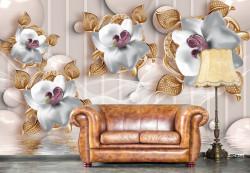 Fototapet, Flori albe de porțelan pe fundal bej
