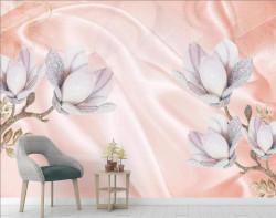 Fototapet, Flori de culoare violet deschis pe mătase