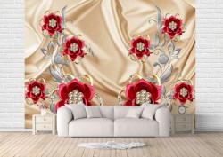 Fototapet, Flori roșii pe un fundal auriu