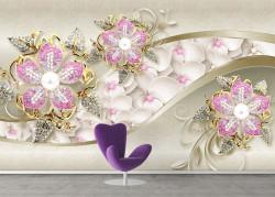 Fototapet, Flori roz deschis pe un fon bej