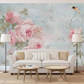 Fototapet, Flori roz pe un fundal albastru
