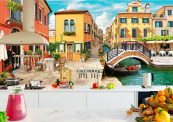 Fototapet Fresco, Fototapete cu vedere la curtea și podul din Veneția