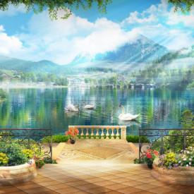 Fototapet Fresco, Vedere frumoasă cu cascade și cer albastru.