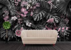 Fototapet, Frunze de plante tropicale cu flori roz 2