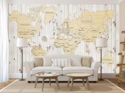 Fototapet, Harta lumii pe perete din lemn