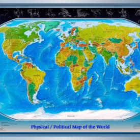 Fototapet, Harta lumii sub formă de sferă pe fundal gri