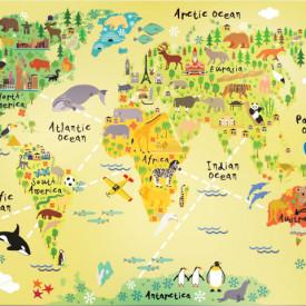 Fototapet Harta si Steaguri, Harta lumii politice a copiilor pe fond galben