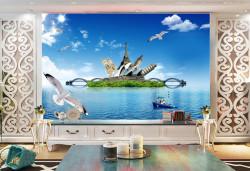 Fototapet, Insula verde în mare și păsări pe cer