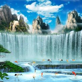 Fototapet, O cascadă frumoasă sub cerul albastru