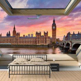 Fototapet, O fereastră cu Priveliște la Londra, noaptea