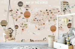 Fototapet Pentru Copii, Harta lumii cu animale și baloane