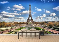 Fototapet, Turnul Eiffel și cerul înnorat