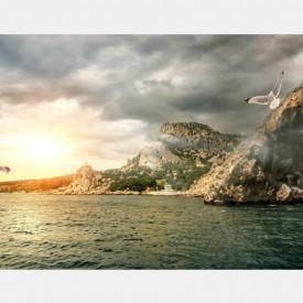 Fototapet, Un apus de soare peste dealuri