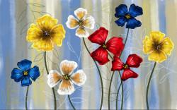 Fototapet, Un buchet de flori și păsări colibri pe un fundal alb