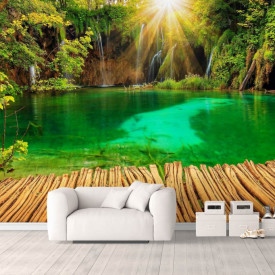 Fototapet, Un pod pe fundalul unei cascade înconjurate de plante verzi