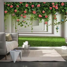 Fototapete 3D, Bush cu trandafiri pe fundalul tunelului