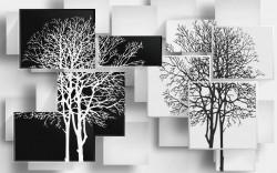 Fototapete 3D, Copaci alb negru pe un fundal abstract