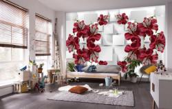 Fototapete 3D, Flori de Bourgogne pe un fundal alb 3D