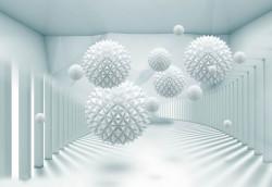 Fototapete 3D, Mingi albe ce plutesc în aer într-o încăpere cu pereți albi