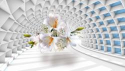 Fototapete 3D, Un crin alb pe fundalul unui tunnel albastru.