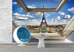 Fototapete, Fereastră cu vedere la Turnul Eiffel ziua