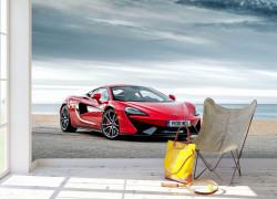 Fototapete, Mașină roșie pe fundalul cerului