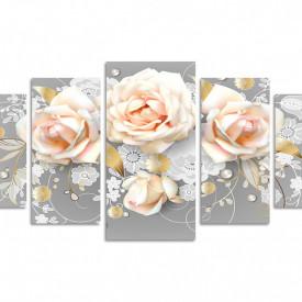 Multicanvas, Buchetul delicat de trandafiri bej pe un fond gri