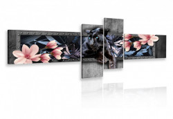 Multicanvas, Pantera neagra cu flori roz pe un fond gri