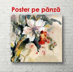 Poster, Aranjamentul de flori și frunze albe