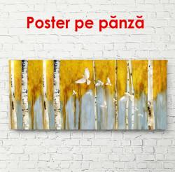 Poster, Copaci galbeni pe un fundal cenușiu