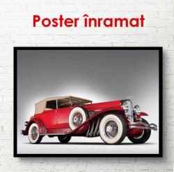 Poster, Mașină roșie pe un fond alb
