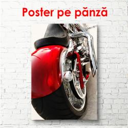 Poster, Motocicletă roșie pe un fundal alb