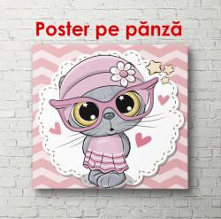 Poster, Pisoi gri într-o rochie roz și ochelari roz