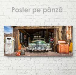 Poster, Retro mașină verde