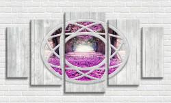 Tablou modular, Fereastra arcuită cu vedere la grădina de flori