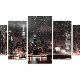 Tablou modular, Oraș nocturn pe apă