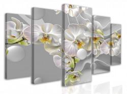 Tablou modular, Orhidee albe pe un fond tridimensional