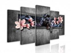 Tablou modular, Pantera neagră cu flori roz pe un fundal gri