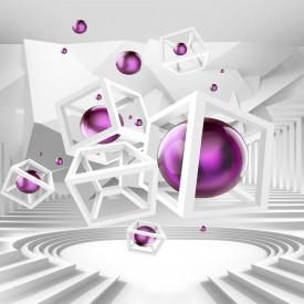 Tablou modular, Sferă lila cu fundal 3D.