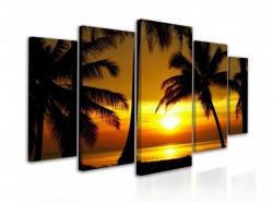Tablou modular, Siluete de palmieri pe un fundal de apus