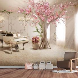 3D, Copac cu flori roz lângă un pian