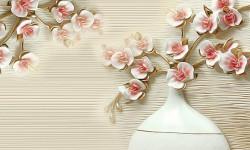 Fototapet 3D ,Creguța cu flori de cireș