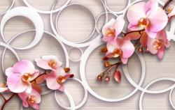 Fototapet 3D, Fantezie cu orhidee roz pe un fundal bej