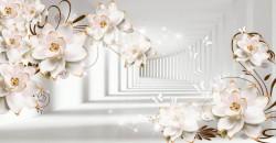 Fototapet 3D, Flori albe pe fundalul unui tunel