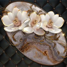 Fototapet 3D, Flori bej frumoase pe fundal negru