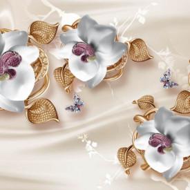 Fototapet 3D, Flori din ceramică pe un fundal bej