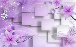 Fototapet 3D, Flori violet pe fundal 3D