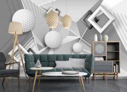 Fototapet 3D, Forme geometrice cu culori reci