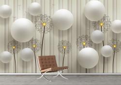 Fototapet 3D, Păpădii și perle albe pe un fundal în dungi